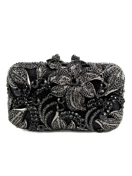 Milanoo Evening Clutch Bags Rhinestone Crystal Jelly Magnetic Snap Closure Wedding Handbag