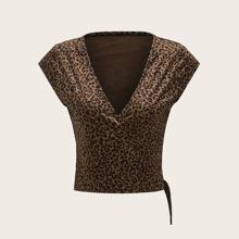 Leopard Print Surplice Front Knot Side Top