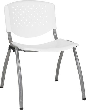 Hercules Collection RUT-F01A-WH-GG Multipurpose Stack Chair with Titanium Gray Powder Coated Frame  Perforated Back  Ergonomically Contoured Design