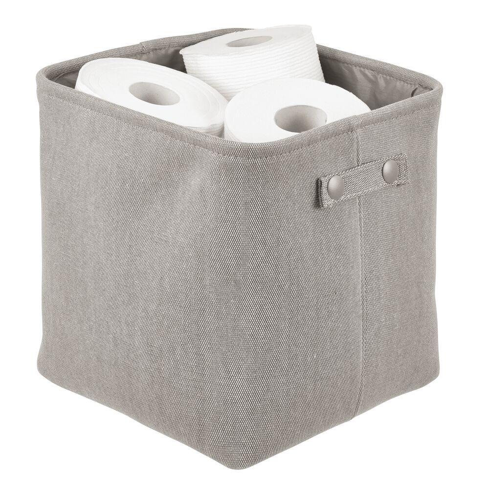Small Fabric Bathroom Storage Bin - Coated Interior in Light Gray, 10.5