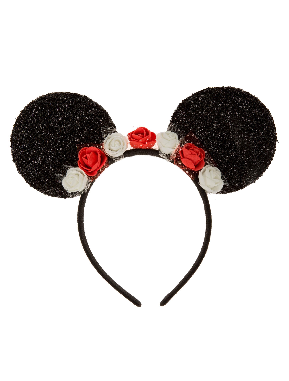 Kostuemzubehor Haarreif Maus mit Blumen Farbe: schwarz