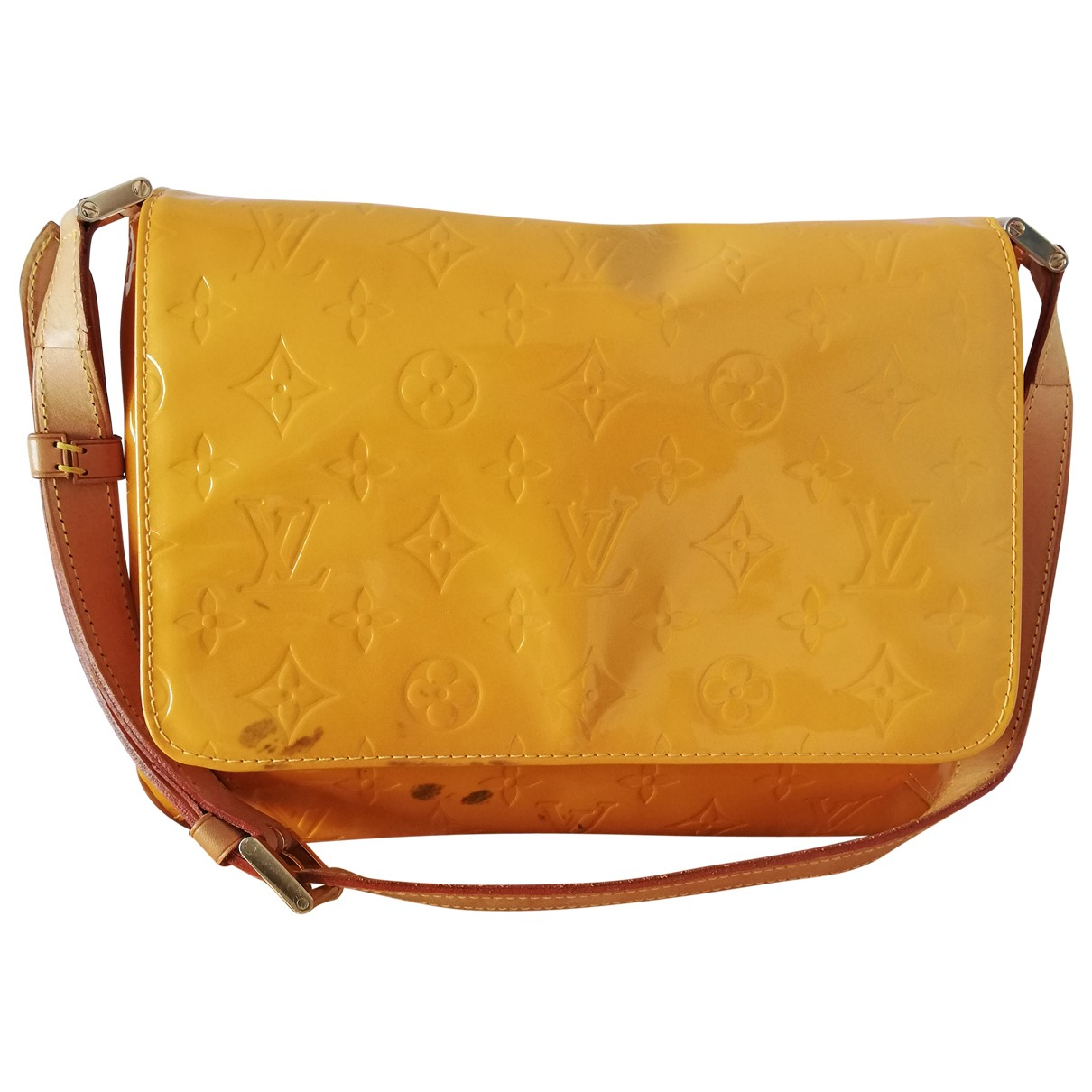 Louis Vuitton - Sac a main Thompson pour femme en cuir verni - jaune