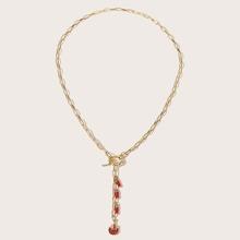 Rhinestone Flame Chain Necklace
