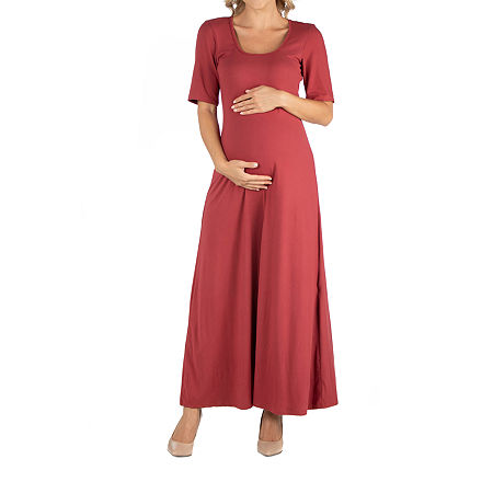 24/7 Comfort Apparel Casual Maxi Dress with Sleeves, 3x , Orange