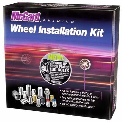 McGard 67232BK 4 Lug Hex Install Kit w/Locks (Cone Seat Bolt) M12X1.25 / 17mm Hex / 22.0mm Shank L. - Black
