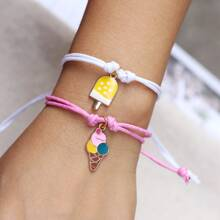 2pcs Girls Ice Cream Decor Bracelet