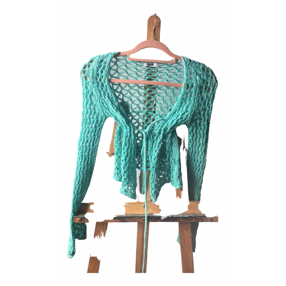 Non Signé / Unsigned Crochet Turquoise Cotton Knitwear for Women One Size FR