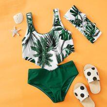 Bañadores para niña pequeña Lazo Tropical Bohemio