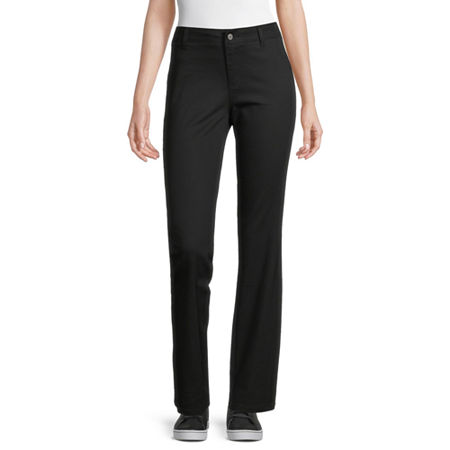 Dickies-Juniors Worker Womens Mid Rise Bootcut Pull-On Pants, 7 , Black