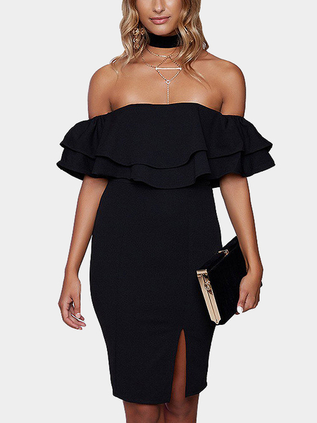 Yoins Off-the-shoulder Frill Party Dress in Black
