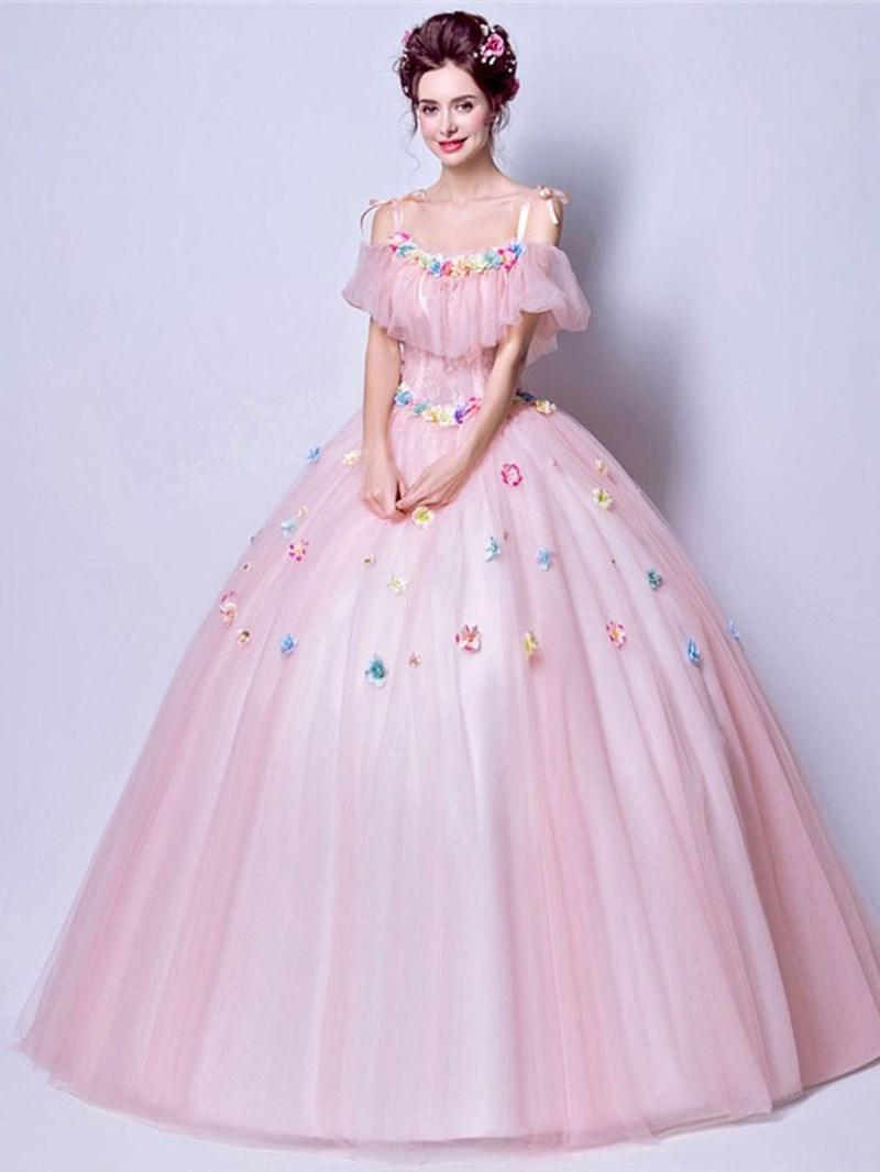 Ericdress Ruffles Straps Ball Gown Floor-Length Quinceanera Dress