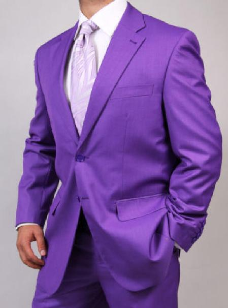 Mens Two Button Purple Suit