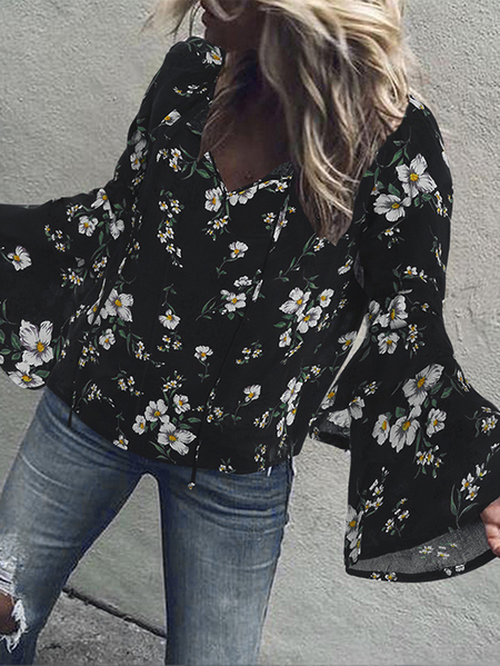Yoins Tiered Design Random Floral Print V-neck Long Sleeves Blouse