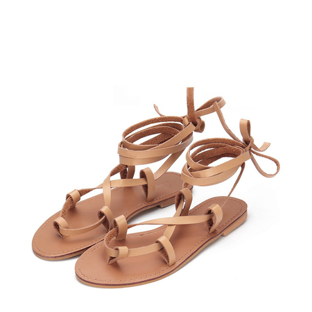 Yoins Apricot Cross Leather Look Toe Post Lace-up Flat Sandals