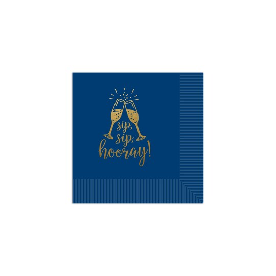 100 Pack of Gartner Studios® Personalized Sip Sip Hooray Foil Coined Wedding Napkin in Navy Blue | 4.75