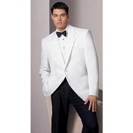 White Dinner Jacket - 2 Button Notch Lapel