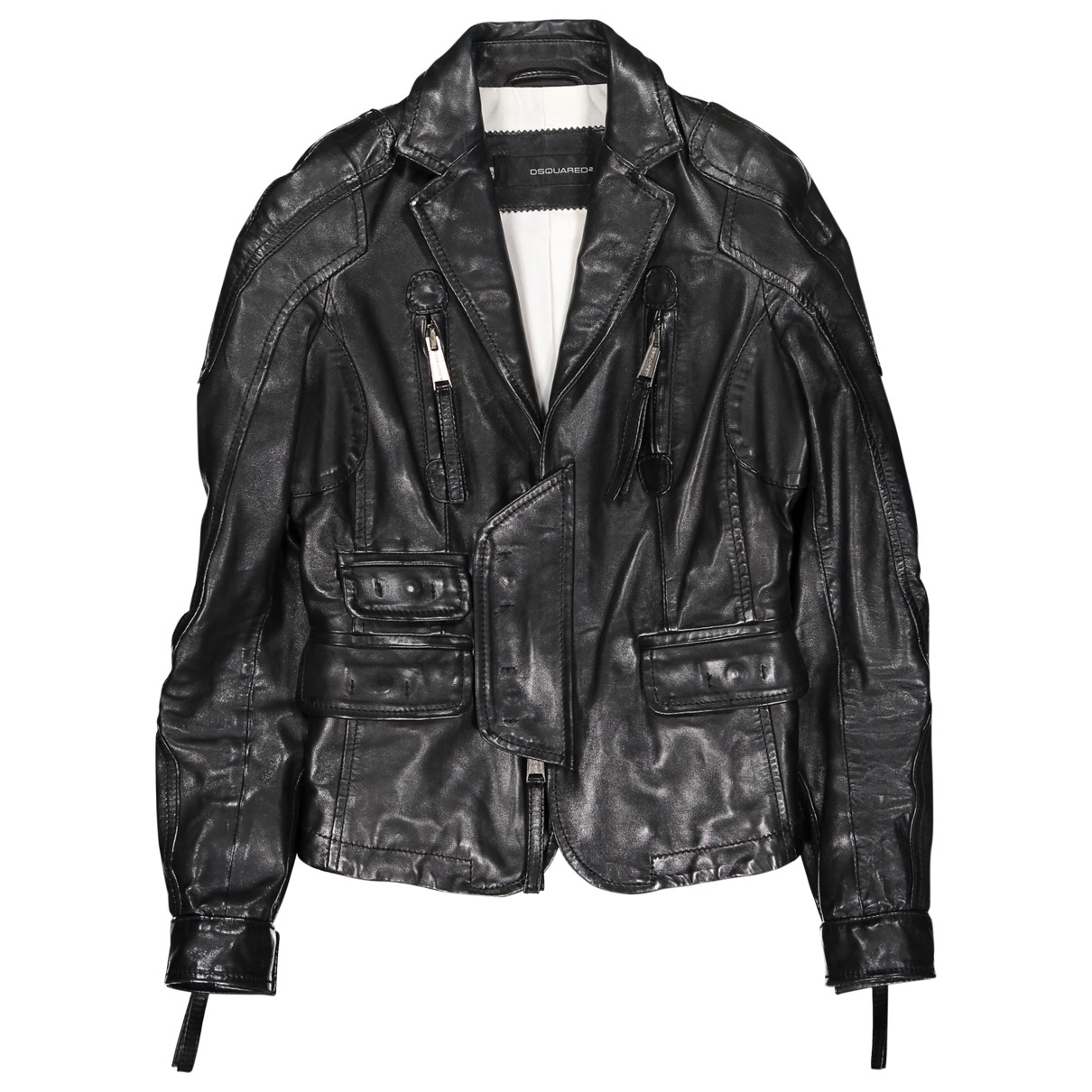 Dsquared2 \N Black Leather Leather jacket for Women 40 IT