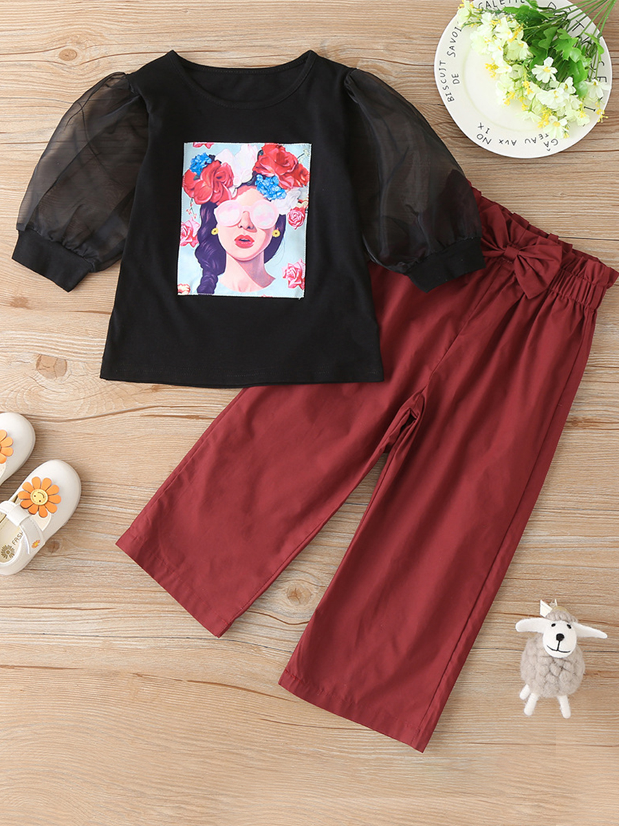 LW lovely Casual O Neck Print Black Girl Two-piece Pants Set