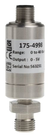 RS PRO Pressure Sensor, 40bar Max Pressure Reading Analogue