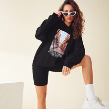 Letter and Graphic Print Hoodie & Biker Shorts Set