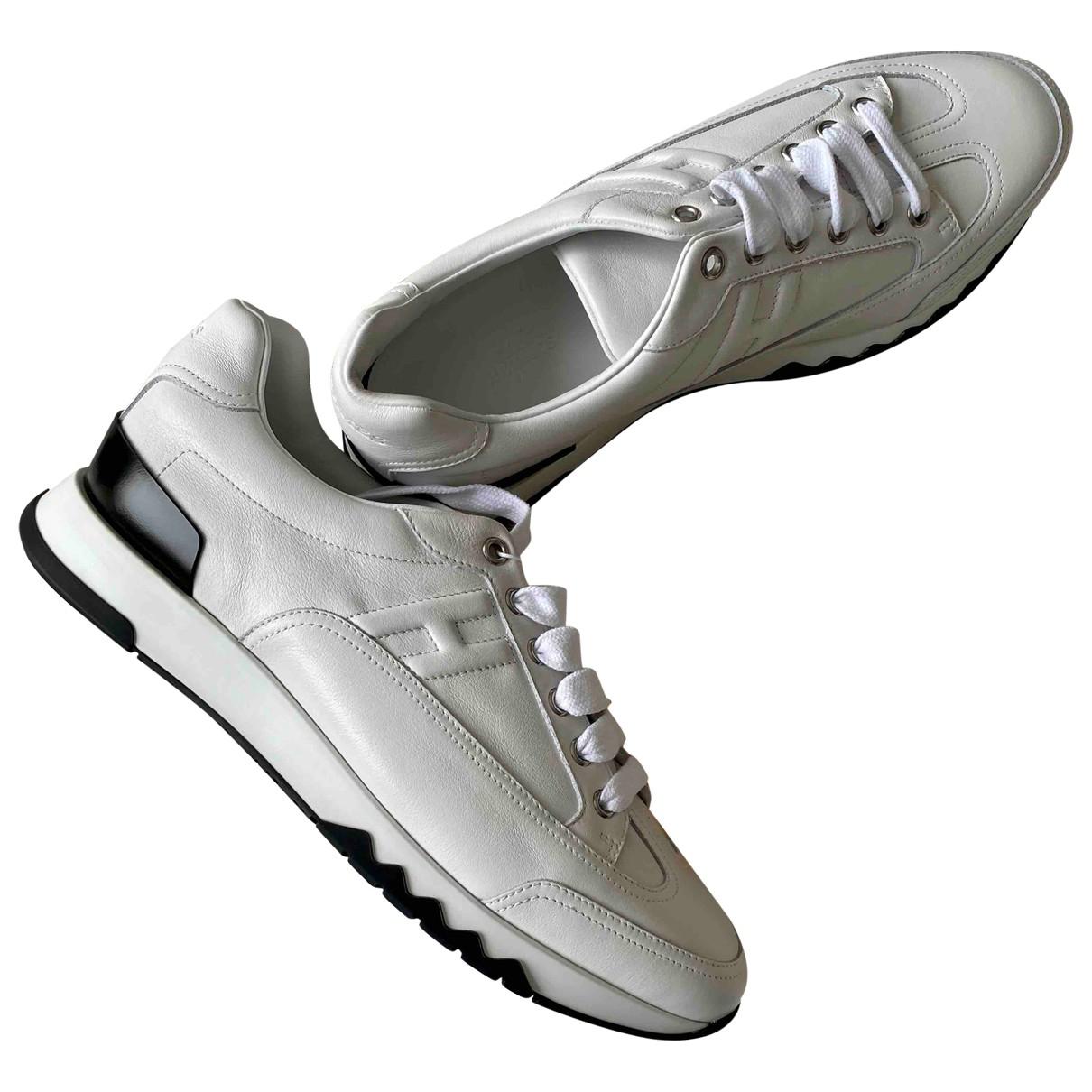 Hermes Trail Sneakers in  Weiss Leder