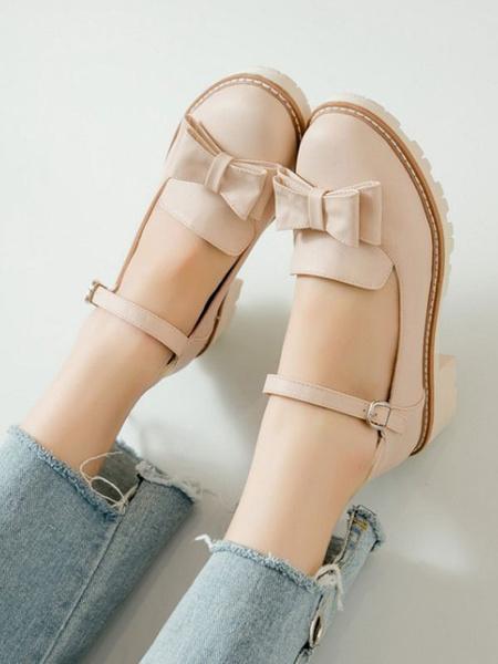 Milanoo Sweet Lolita Footwear Bows PU Leather Lolita Pumps
