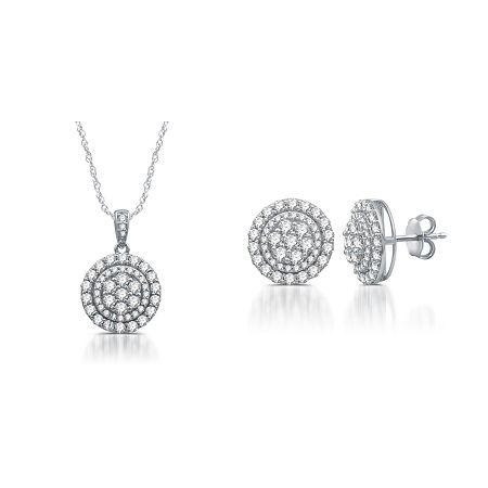 Diamond Blossom 2 CT. T.W. Genuine White Diamond Sterling Silver 2-pc. Jewelry Set, One Size , No Color Family