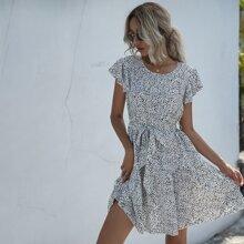Dalmatian Print Ruffle Hem Belted Dress