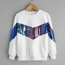 Pullover mit sehr tief angesetzter Schulterpartie und Kontrast Pailletten