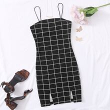 M-slit Hem Grid Print Dress