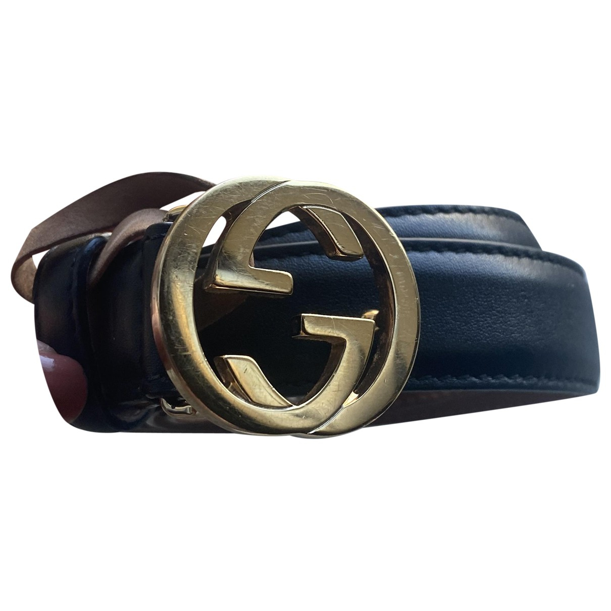 Gucci Interlocking Buckle Black Leather belt for Women 80 cm