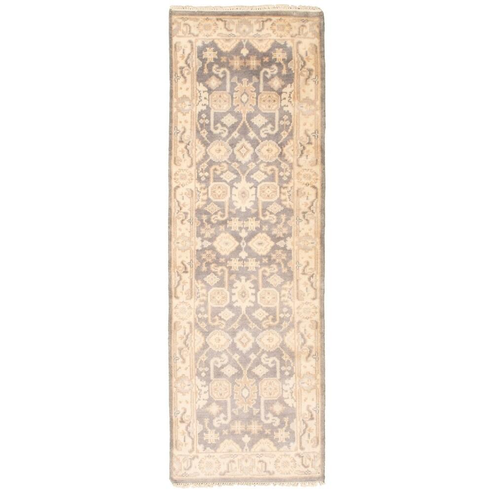 ECARPETGALLERY  Hand-knotted Royal Ushak Grey Wool Rug - 2'6 x 7'10 (2'6 x 7'10 - Grey)
