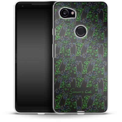 Google Pixel 2 XL Silikon Handyhuelle - Simon´s Cat Black and Green Pattern von Simons Cat