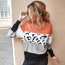 Graphic Print Colorblock Sweater