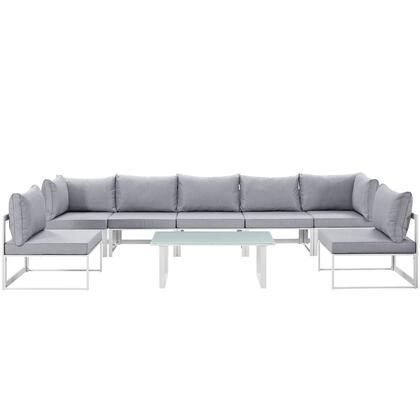 Fortuna Collection EEI-1730-WHI-GRY-SET 8 PC Outdoor Patio Sectional Sofa Set with 2 Corner Chairs  5 Armless Chairs  Tempered Glass Top Coffee Table
