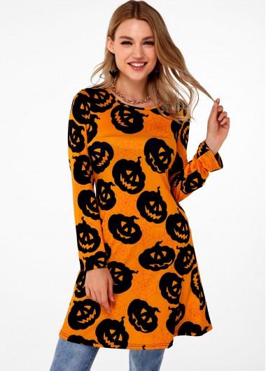 Long Sleeve Halloween Print Round Neck T Shirt - S