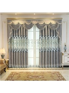 Classic Fine Embroidery Shading Cloth for Living Room Custom 2 Panels Hollowed-out Blackout Curtain Drapes
