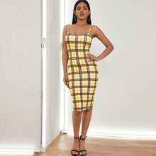 Figurbetontes Midi Cami Kleid mit Karo Muster