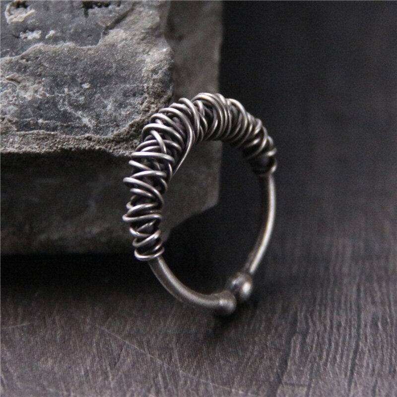 Vintage 925 Sterling Silver Weave-Shape Rings Men Women Open Rings Jewelry Gift