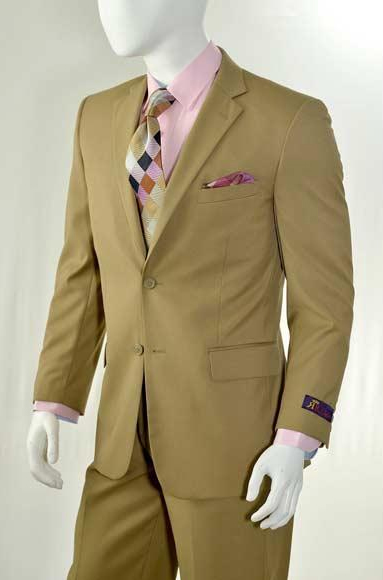 Men's Slim Fit Solid Khaki 2 Button Suit With Flat Front Pants