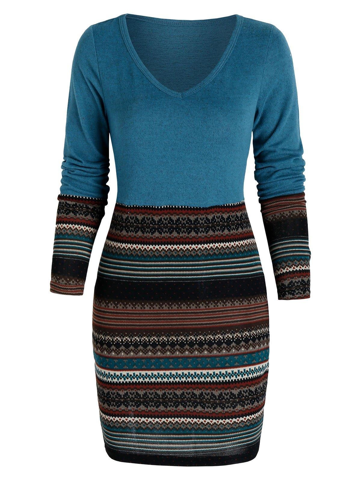 Tribal Print V Neck Mini Bodycon Dress