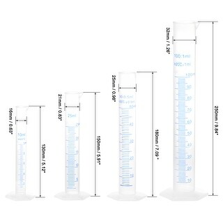 Plastic Graduated Cylinder,10ml 25ml 50ml 100ml Measuring Cylinder, 4 in 1 Set - Clear,White (Clear,White)