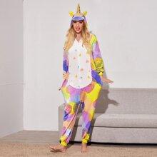 Einteiliger Pluesch Schlafanzug mit Punkten Muster, Reissverschluss und Einhorn Design