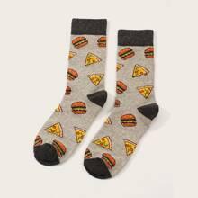 1 Paar Herren Hamburger & Pizza Muster Socken