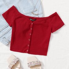 Off Shoulder Buttoned Front Rib-knit Top