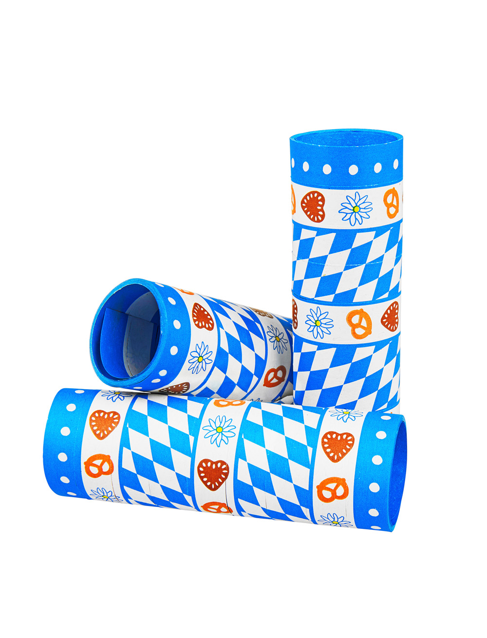 Luftschlangen Oktoberfest mit Motiven 3er Farbe: blau/weiss