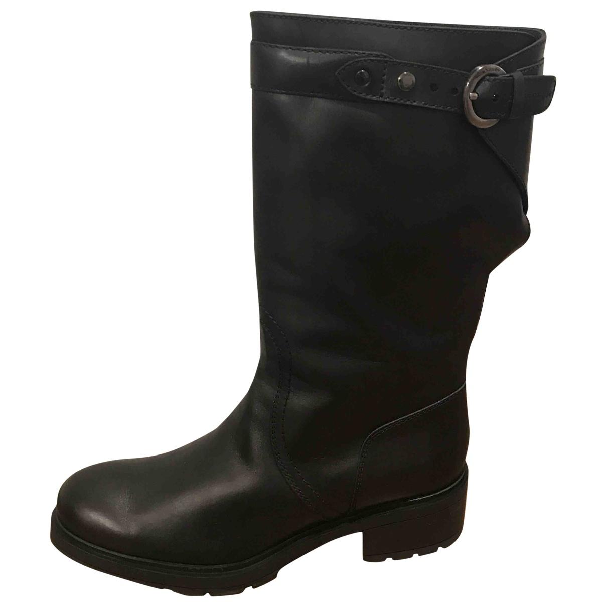 Hogan \N Black Leather Boots for Women 39 EU