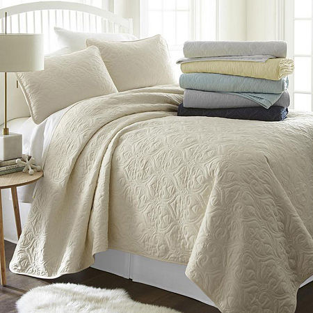 Casual Comfort Premium Ultra Soft Damask Pattern Quilted Coverlet Set, One Size , Beige