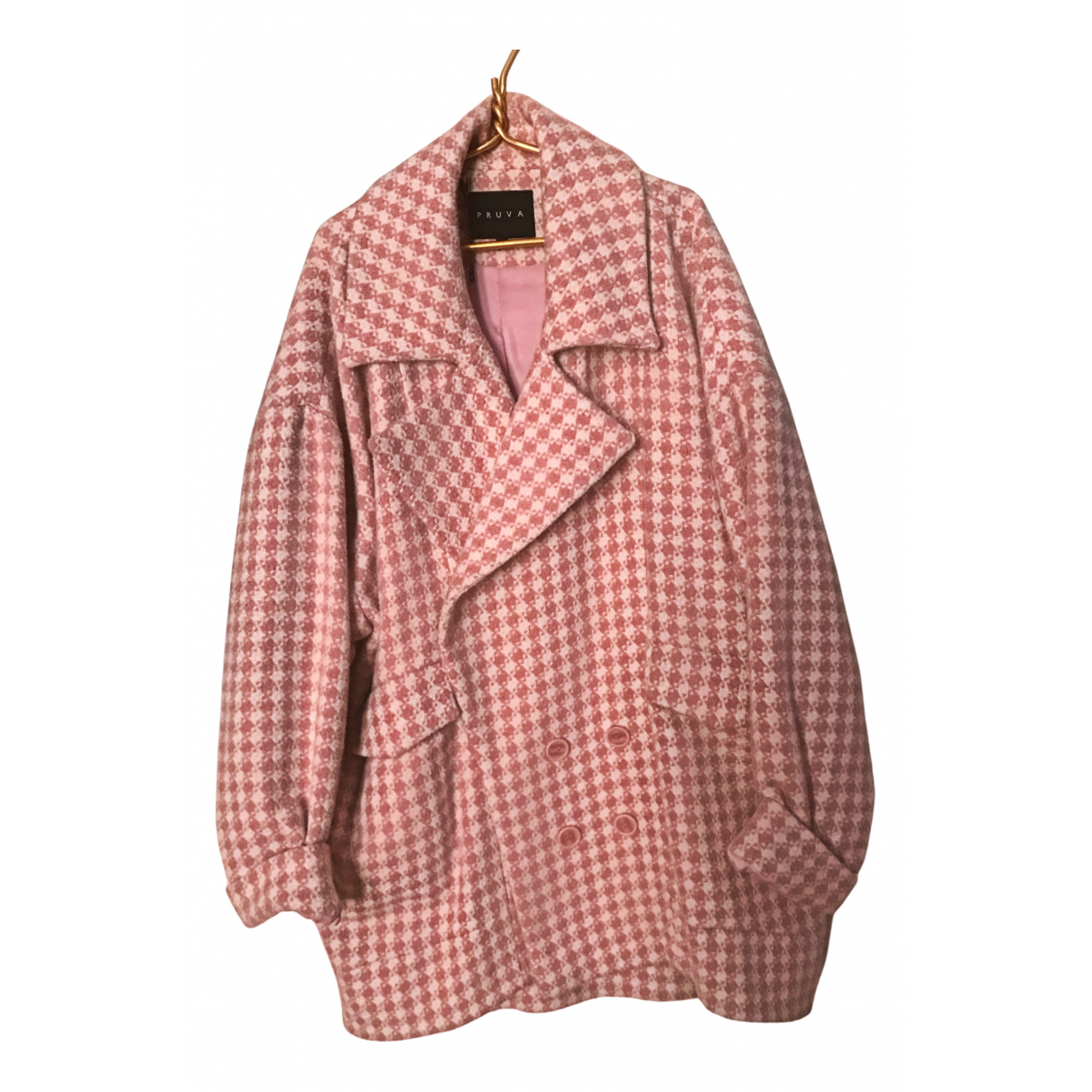 Non Signe / Unsigned Oversize Maentel in  Rosa Wolle