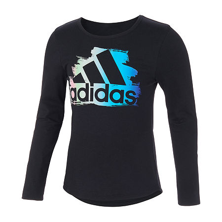 adidas Little Girls Scoop Neck Long Sleeve Graphic T-Shirt, 6x , Black